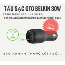 Belkin Cốc Sạc-Tẩu Sạc Oto Sạc Nhanh Pd 30W,24W (New 100%-No Box)