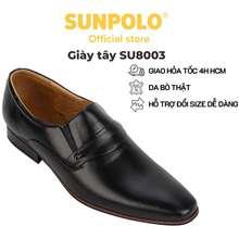 SUNPOLO Giày Tây Nam Da Bò Thủ Công Cao Cấp Đen Nâu Đỏ - Su8003