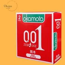 OKAMOTO [ Úkona ] - Bao Cao Su 0.01 Pu Siêu Mỏng Truyền Nhiệt Nhanh Hộp 2 Cái