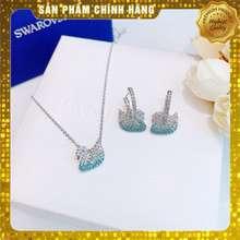 Swarovski [Chính Hãng] Set Vòng Cổ, Bông Tai Iconic Swan Pendant Necklace_Đá Xanh