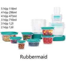 Rubbermaid Hộp Nhựa Press & Lock Easy Find Lids Food Storage Containers, 42 Món- Hộp Đựng Thực Phẩm (Xanh, 21 hộp)