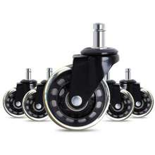 Set of 5 Office Chair Caster Wheels Silent Roller Rollerblade Style Castor Wheel Replacement (3 Inch)