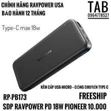 RAVPower [Mã 229Elsale Hoàn 7% Đơn 300K] Sạc Dự Phòng 10.000 Pd 18W Pioneer 2 Cổng (Rp-Pb173)