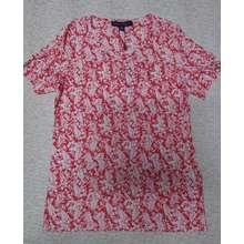 Tommy Hilfiger [HCM]Áo kiểu nữ trung niên tay ngắn cổ tròn họa tiết hoa hiệu size XS hàng mỹ chính hãng