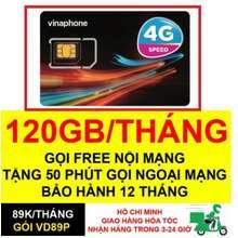 Vinaphone Sim 4G Vd89 Plus 120Gb/Tháng (4Gb/Ngày) Tốc Độ Cao
