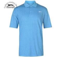 Slazenger Áo Thun Nam Check Golf Polo (Màu Light Aqua) - Hàng Size Uk