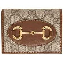 Gucci Ví Nữ Beige & Brown GG 1955 Horsebit Card Holder Wallet Màu Nâu