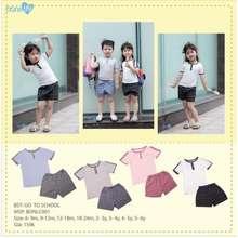 Quần áo trẻ em-Blue Kids Bộ Bons Cổ Trụ Bé Trai, Bé Gái- Bst Go To School, Bộ Đi Học, Đi Chơi Cho Bé