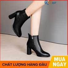 Rosata Giày Boot Nữ Cổ Thấp 7 Phân Hai Màu Đen Nâu Hàng Hiệu Ro307